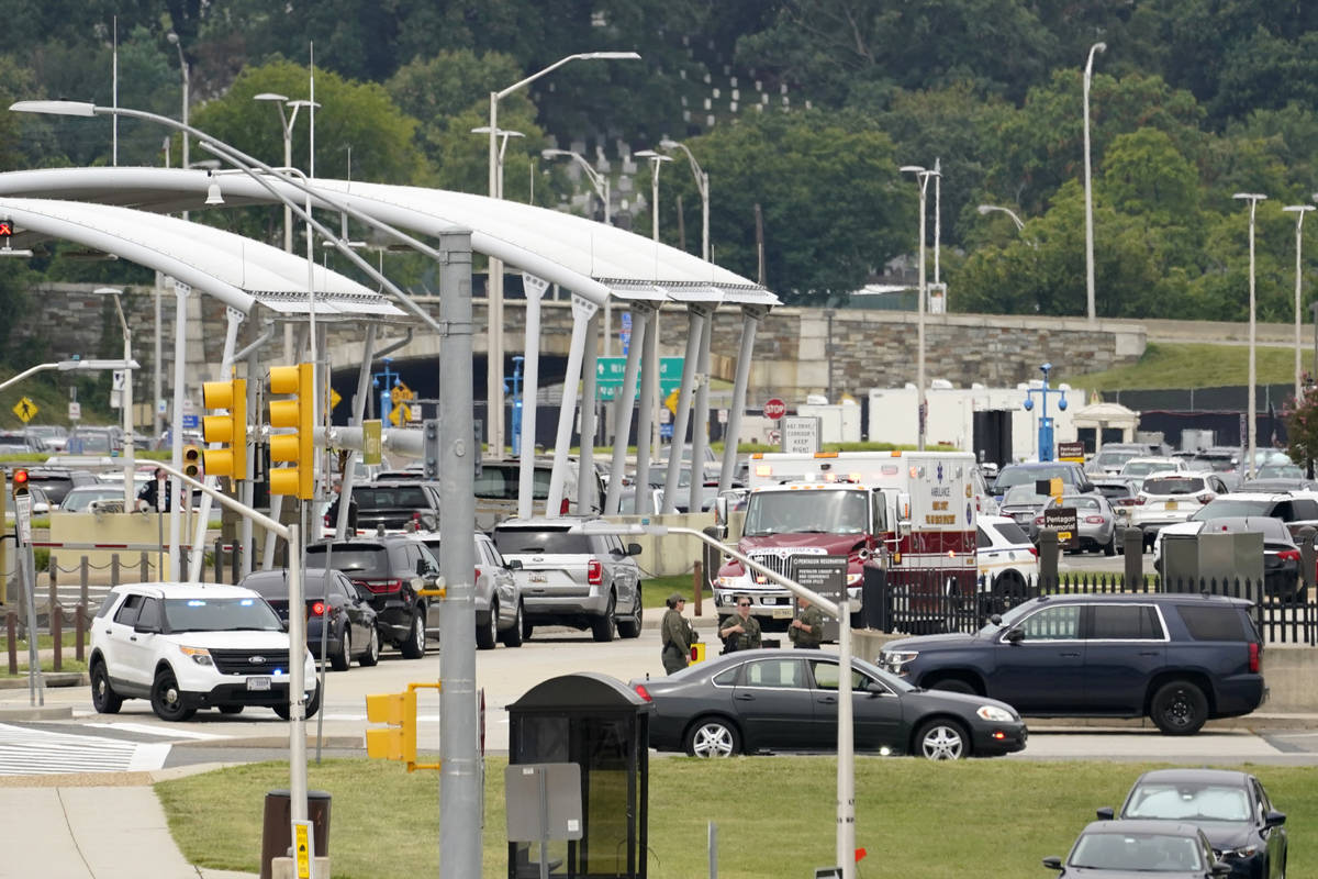 Rescue vehicles are seen outside the Pentagon Metro area, Tuesday, August 3, 2021 at the Pentag ...