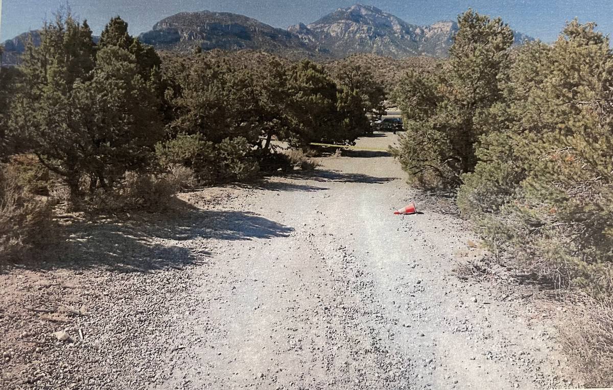 This new evidence photo filed with Clark County District Court on Tuesday shows the area where ...