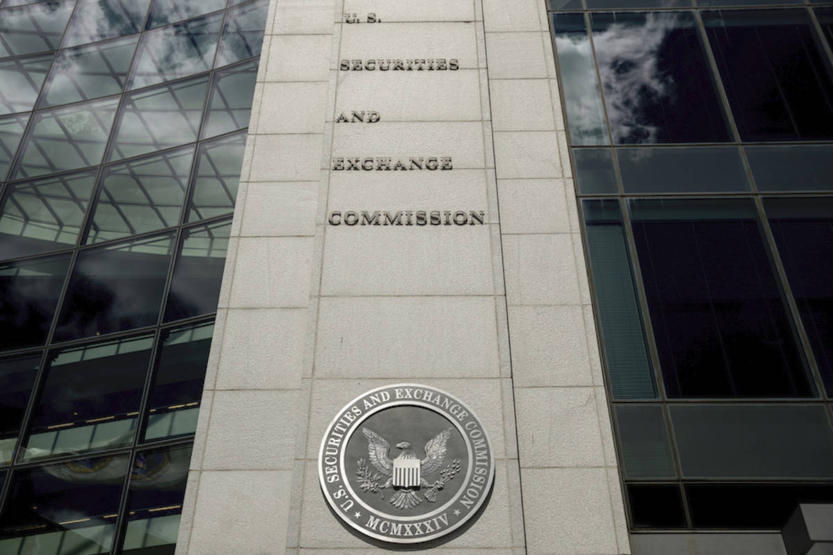 In this Aug. 5, 2017, file photo U.S. Securities and Exchange Commission building in Washington ...