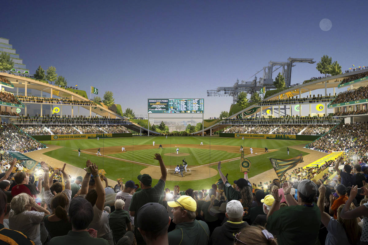 This rendering provided by the Oakland Athletics and BIG - Bjarke Ingels Group shows an interio ...