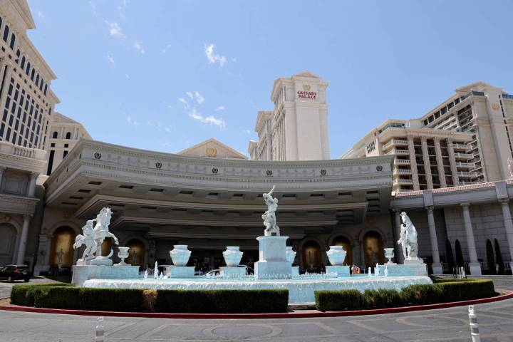 The porte-cochère at Caesars Palace on the Las Vegas Strip in June 2021. (K.M. Cannon/Las Vega ...