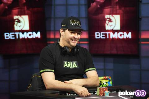 """Phil Hellmuth plays on """"High Stakes Duel"""" on Wednesday, July 28, 2021, at the PokerGO studio by ..."""