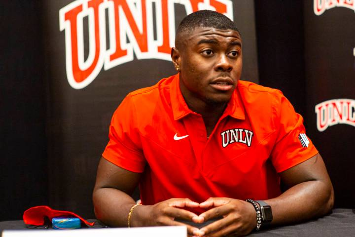 UNLV football's Charles Williams speaks during Mountain West Conference media days at The Cosmo ...