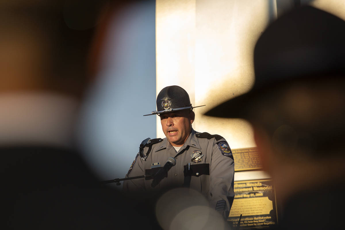 Nevada Highway Patrol Major Martin Mleczko speaks during a vigil for fallen trooper Micah May a ...