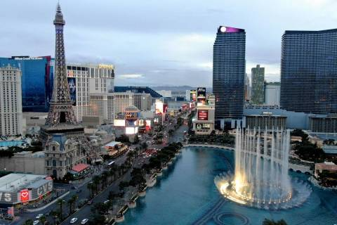 Aerial view of the Las Vegas Strip on Friday, March 12, 2021. (Michael Quine/Las Vegas Review-J ...