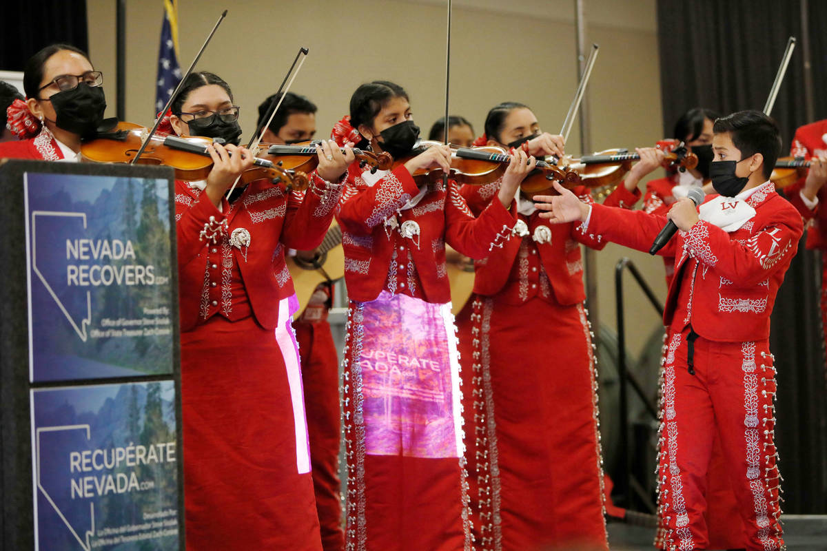 Las Vegas High School Mariachi Joya Group performs during a kick-off event of the Nevada Recove ...