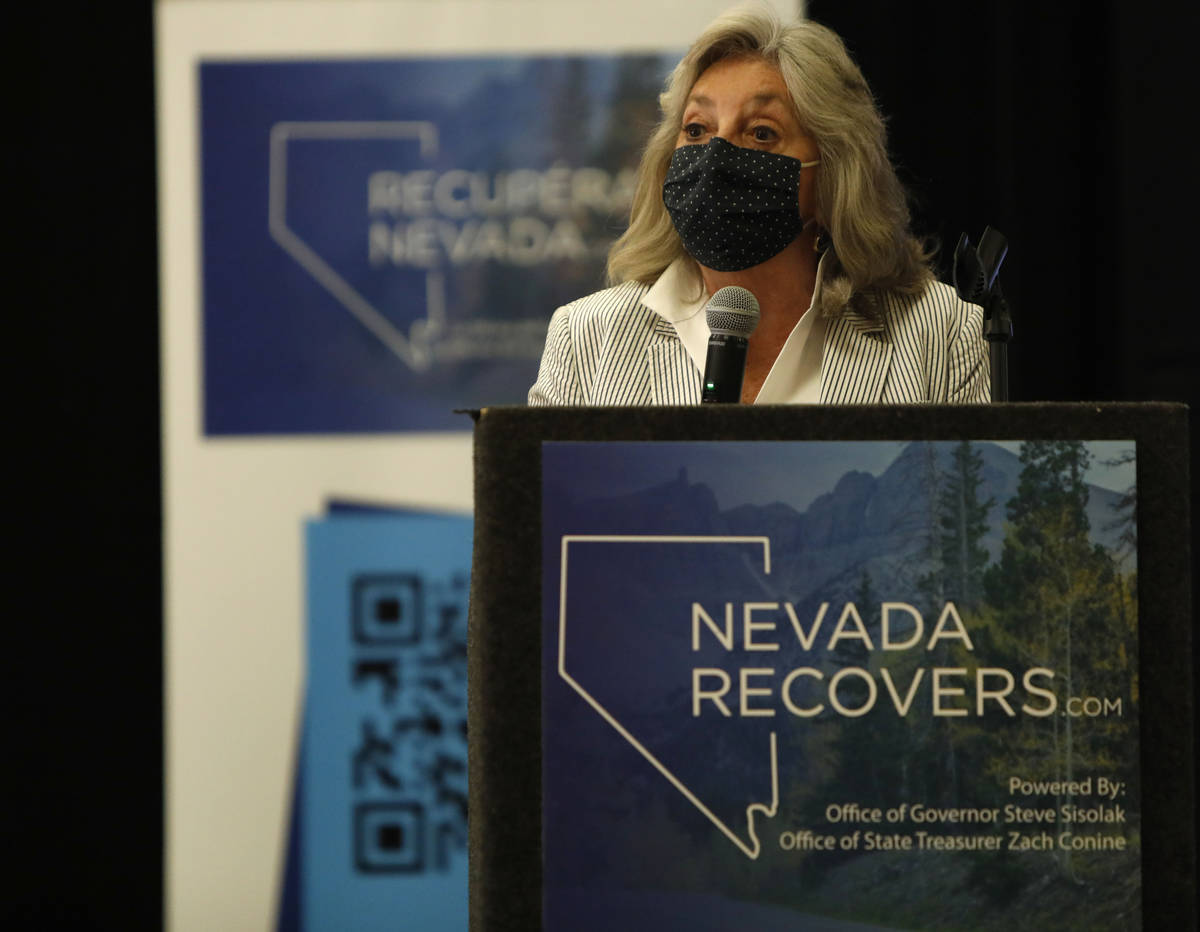 Rep. Dina Titus, D-Nev., speaks during a kick-off event of the Nevada Recovers Listening Tour f ...