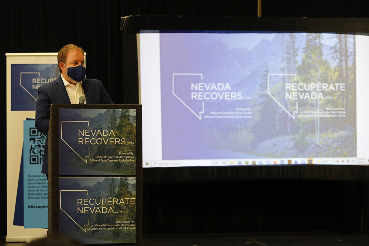 Nevada State Treasurer Zach Conine speaks during a kick-off event of the Nevada Recovers Listen ...