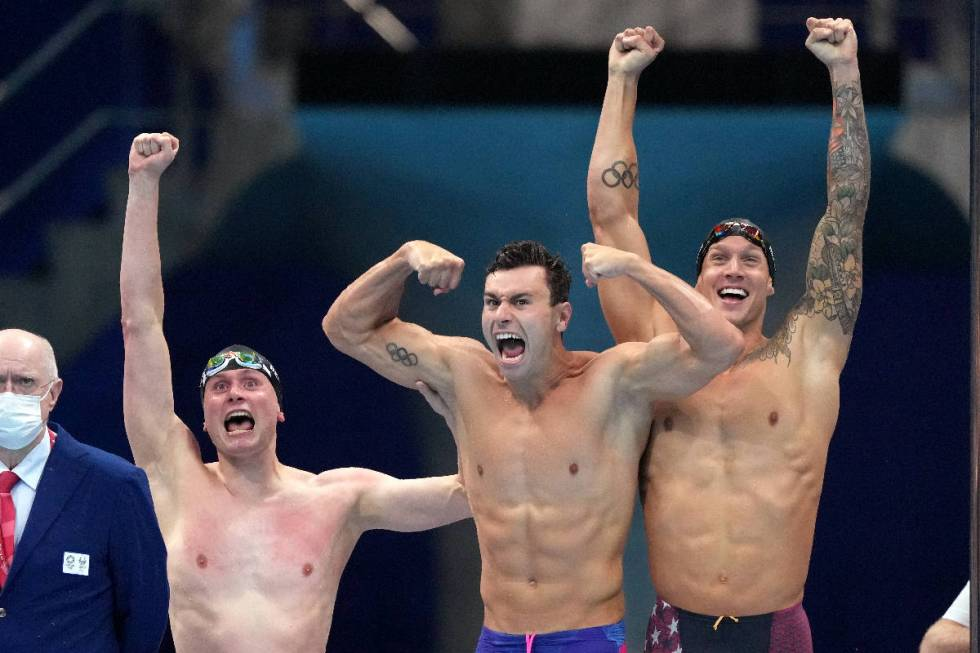 United States men's 4x100m freestyle relay squad  of Bowe Becker, Blake Pieroni and Caeleb Dresse ...