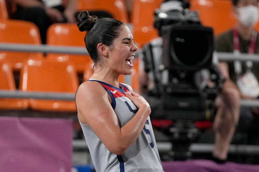 United States' Kelsey Plum celebrates triumph  implicit    Russian Olympic Committee successful  a women's 3-on- ...
