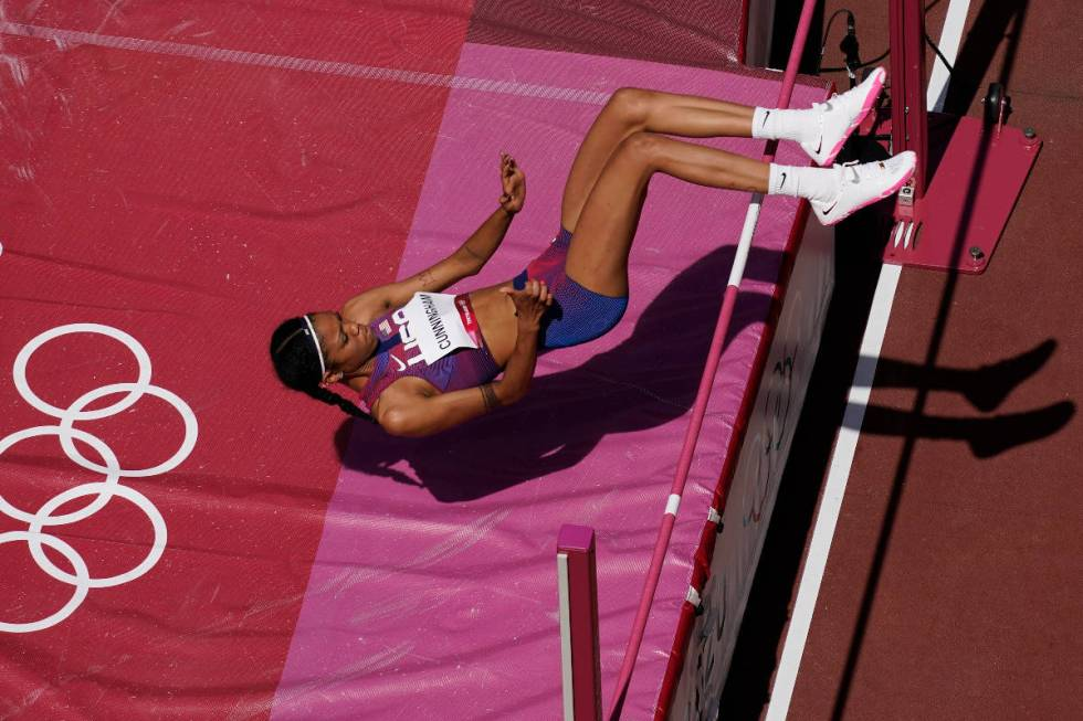 Vashti Cunningham, of United States, competes during a qualification circular  of the women's precocious   ...