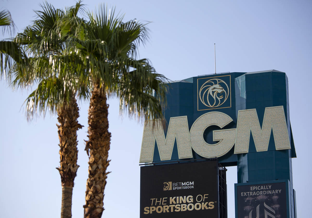 The marquee at MGM Grand on Wednesday, Aug. 4, 2021, on the Las Vegas Strip. Caesars Entertainm ...