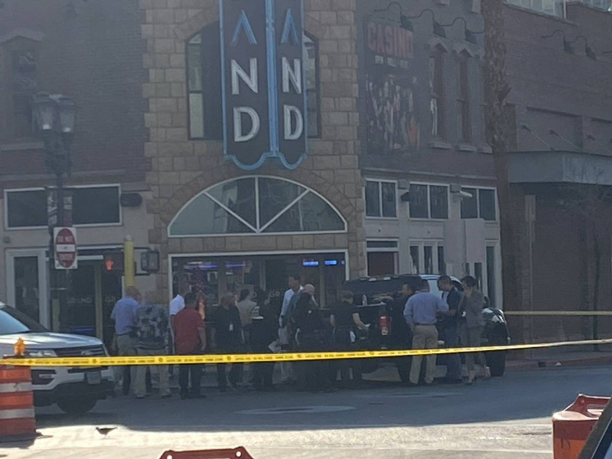 Las Vegas police were also observed in front of the Downtown Grand as they investigated a homic ...