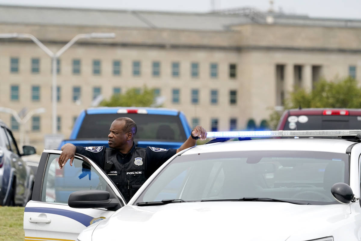 A Pentagon Police officer is seen outside the Pentagon, Tuesday, August 3, 2021 at the Pentagon ...
