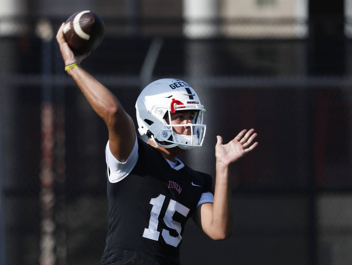 UNLV Rebels quarterback Matthew Geeting (15 )throws a ball during football practice in UNLV, We ...