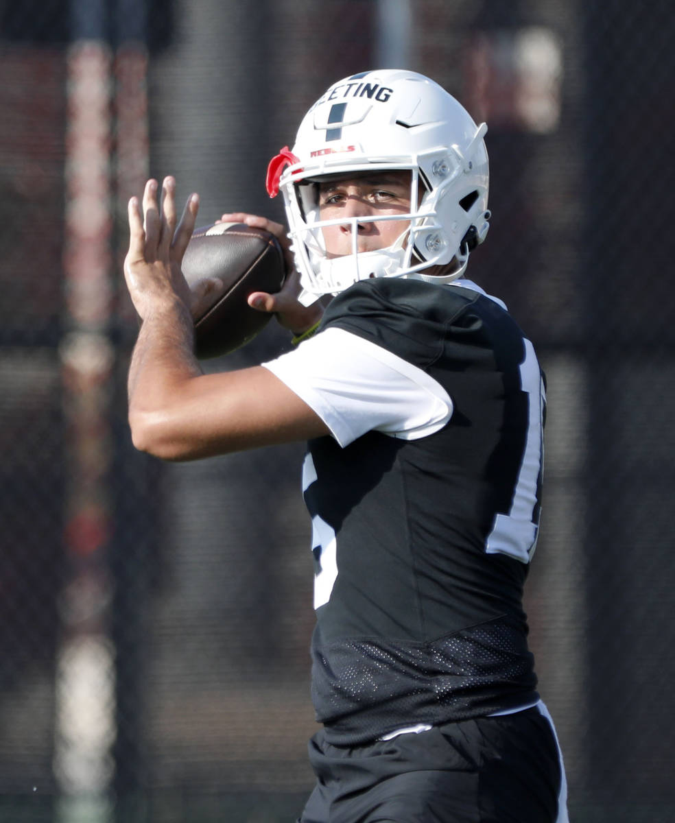 UNLV Rebels quarterback Matthew Geeting (15 ) throws a ball during football practice in UNLV, W ...