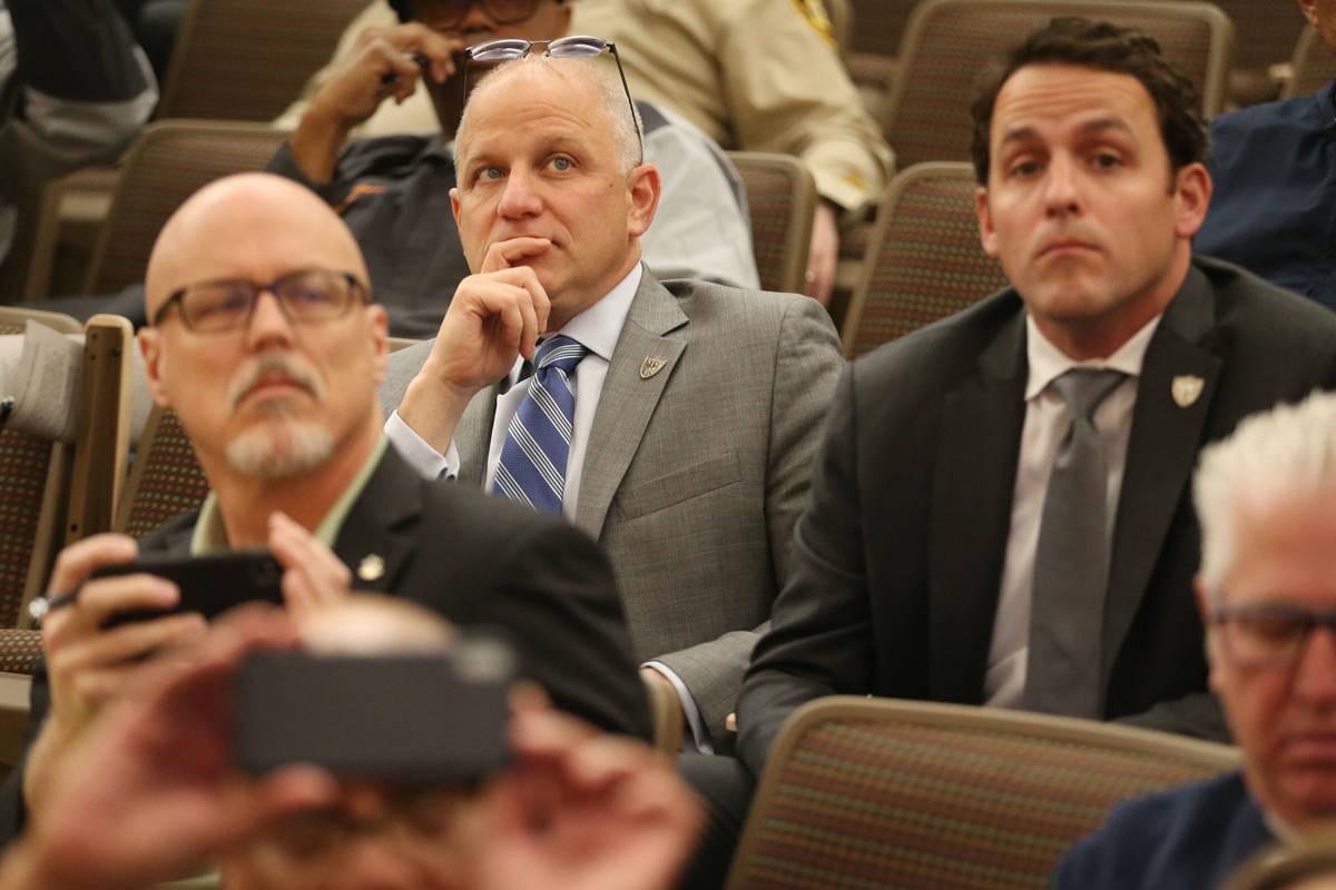 Raiders President Marc Badain, left, and Vice President of Business Development Brandon Doll, a ...