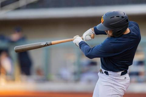 Cody Thomas hits a home run during a simulated game at practice at Las Vegas Ballpark on Tuesda ...