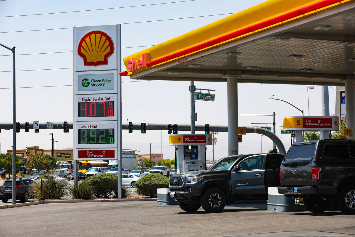 Gas prices on display at the Shell station on Blue Diamond in Las Vegas, Wednesday, Aug. 4, 202 ...
