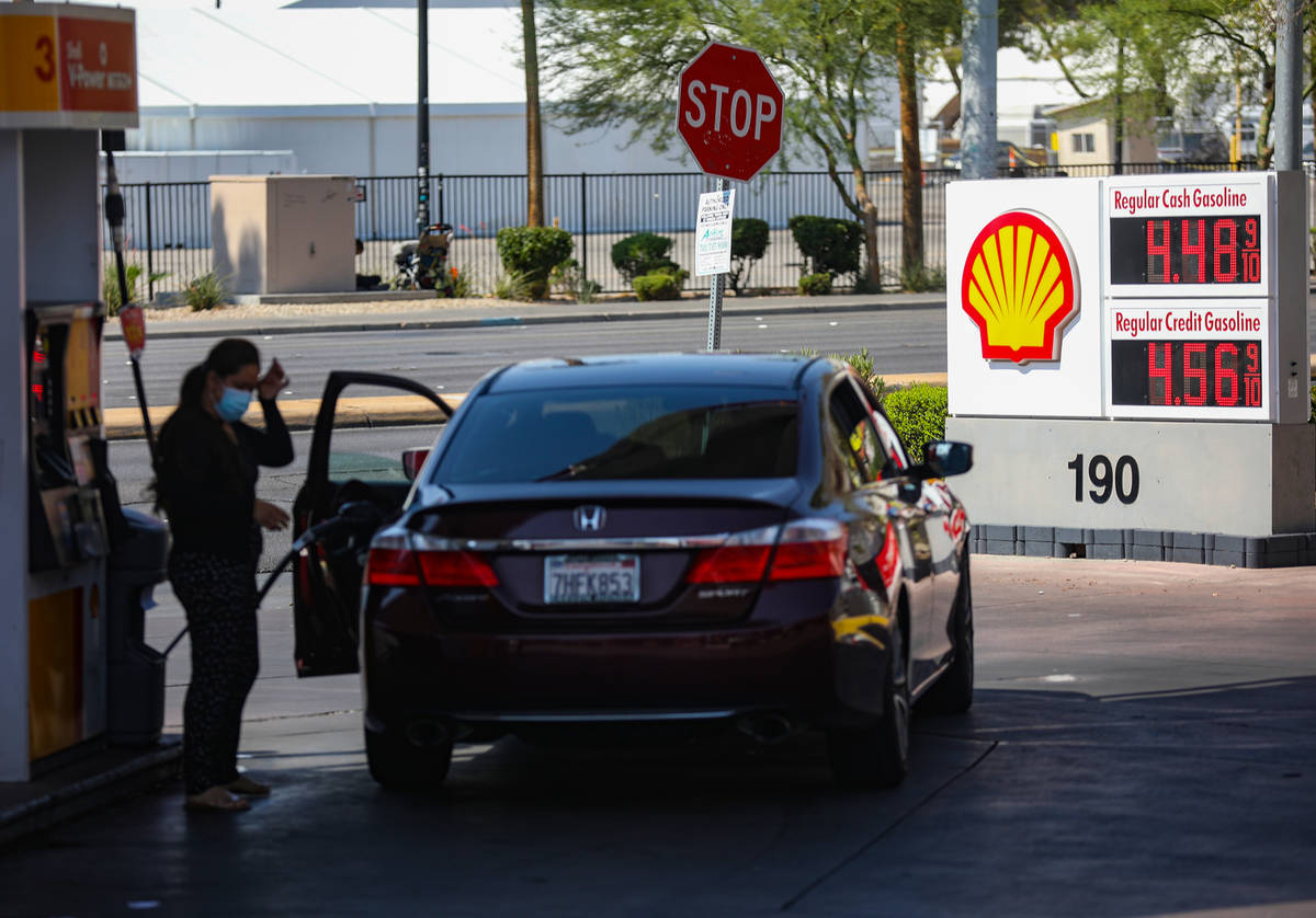 Gas prices on display at the Shell station Koval Lane and Flamingo Road in Las Vegas, Wednesday ...