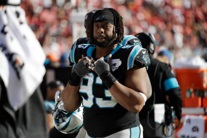 Carolina Panthers defensive tackle Gerald McCoy on bench during the second half of an NFL footb ...