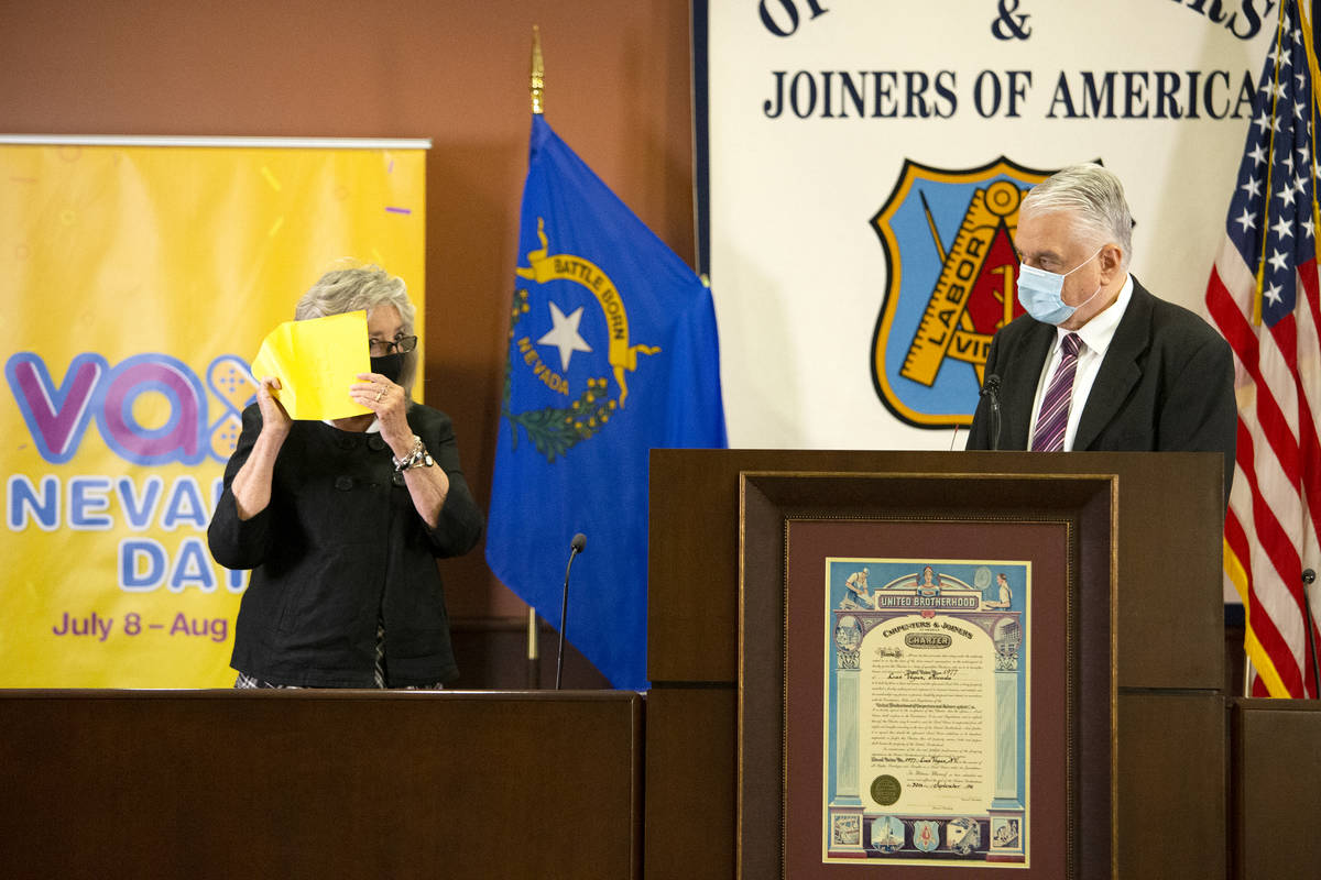 Congresswoman Dina Titus, D-Nev., and Gov. Steve Sisolak announce the fifth round of Vax Nevada ...