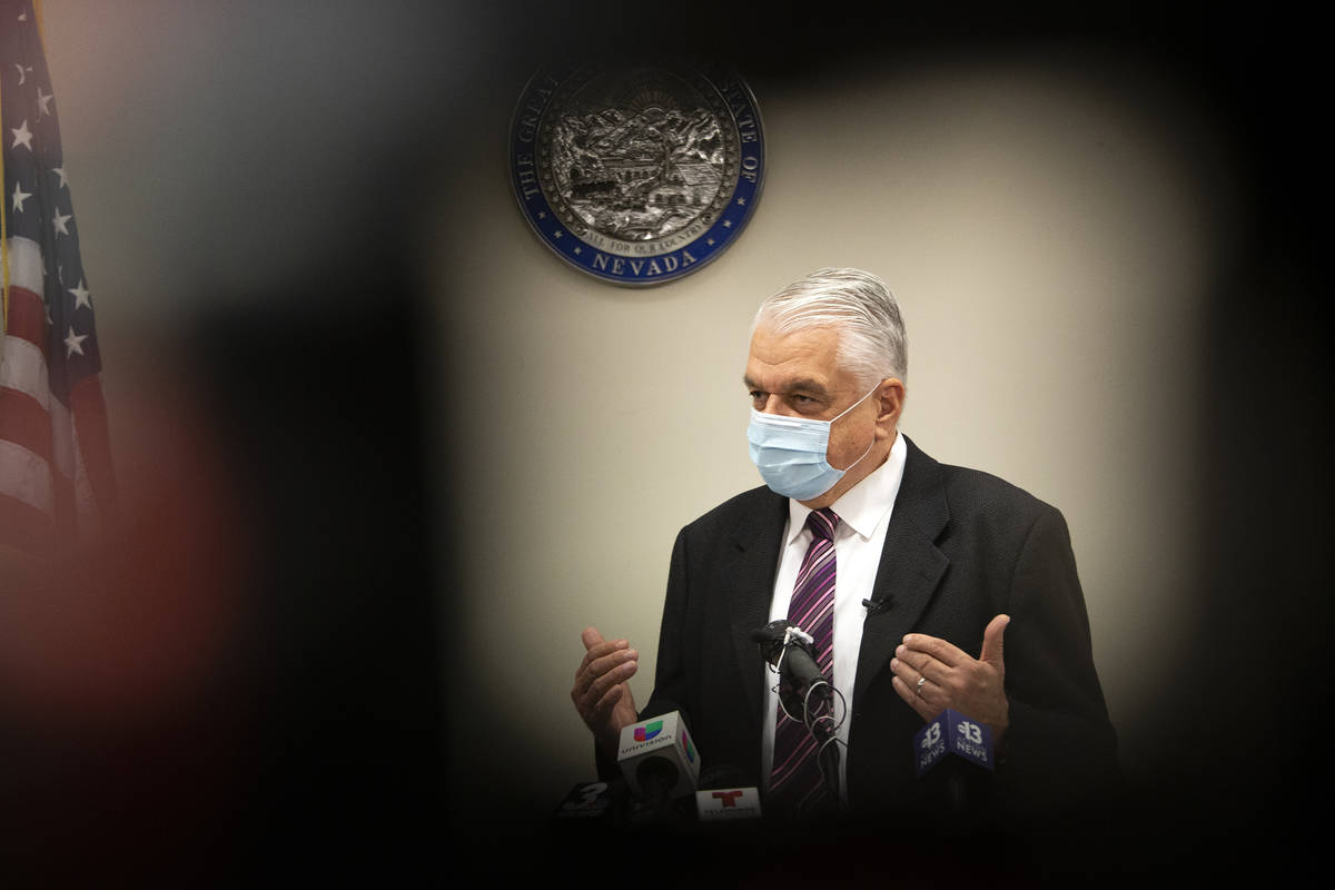 Gov. Steve Sisolak updates the public on COVID-19 in Nevada during a press conference at the Gr ...