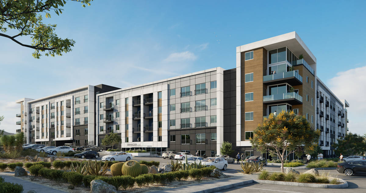 The Howard Hughes Corp. is developing the 295-unit Tanager Echo apartment complex, a rendering ...