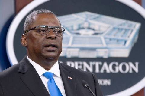 In this July 21, 2021 file photo, Defense Secretary Lloyd Austin speaks at a press briefing at ...