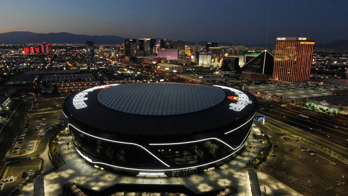Aerial view of Allegiant Stadium and the Las Vegas Strip on Thursday, August 5, 2021. (Michael ...
