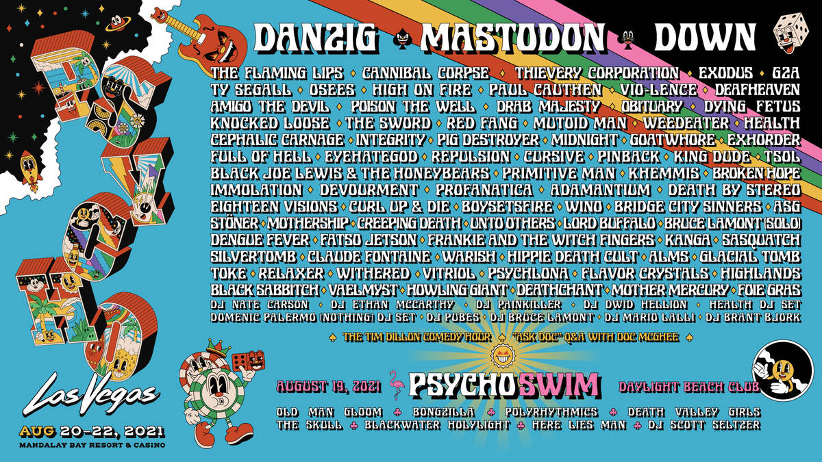 Lineup for Psycho Las Vegas, a three-day festival that begins Friday, Aug. 20, 2021, spread acr ...