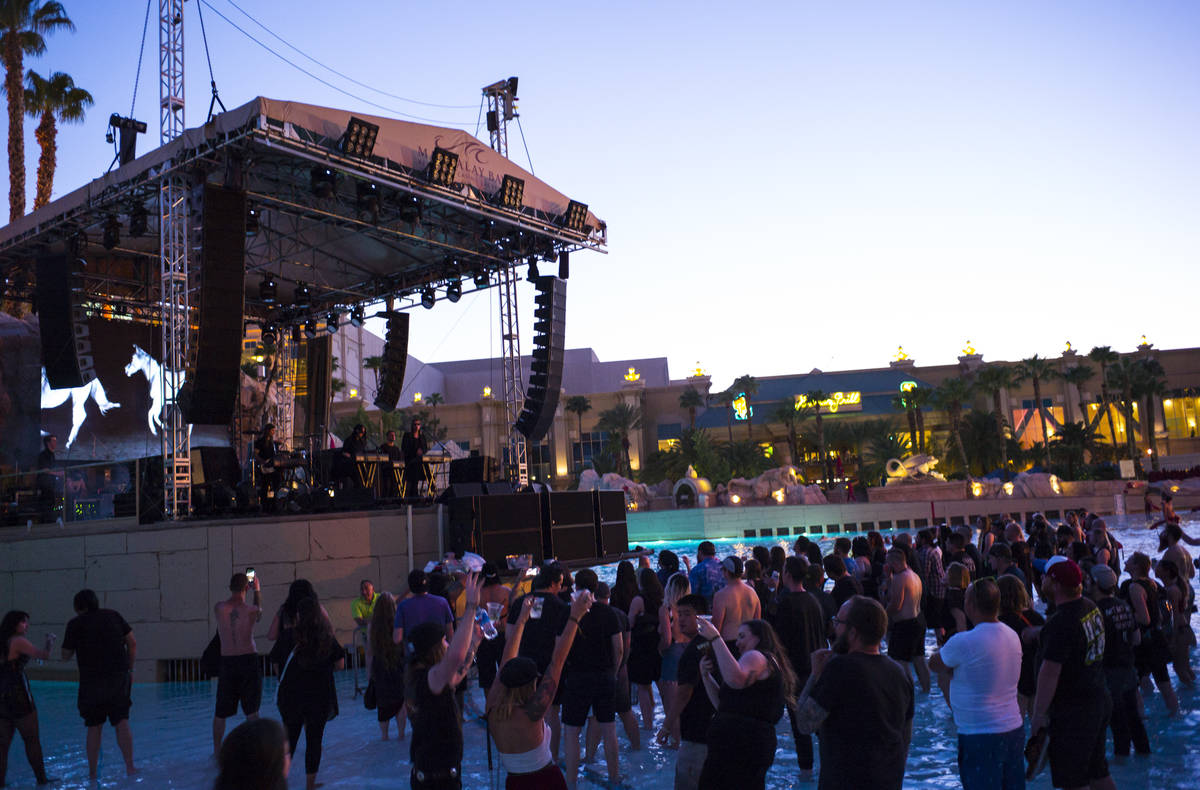 Cold Cave performs at the beach stage during the Psycho Las Vegas music festival at Mandalay Ba ...