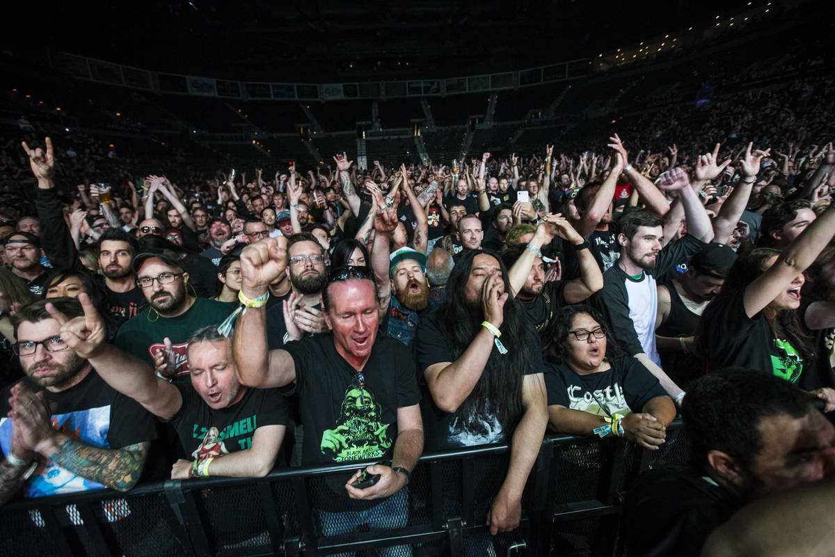 Fans cheer as High on Fire performs at the Mandalay Bay Events Center during the Psycho Las Veg ...