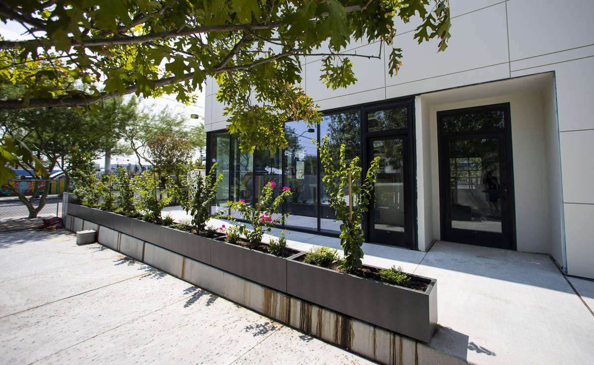 An outdoor space near the pool area at The English Hotel, which is under-construction in Las Ve ...