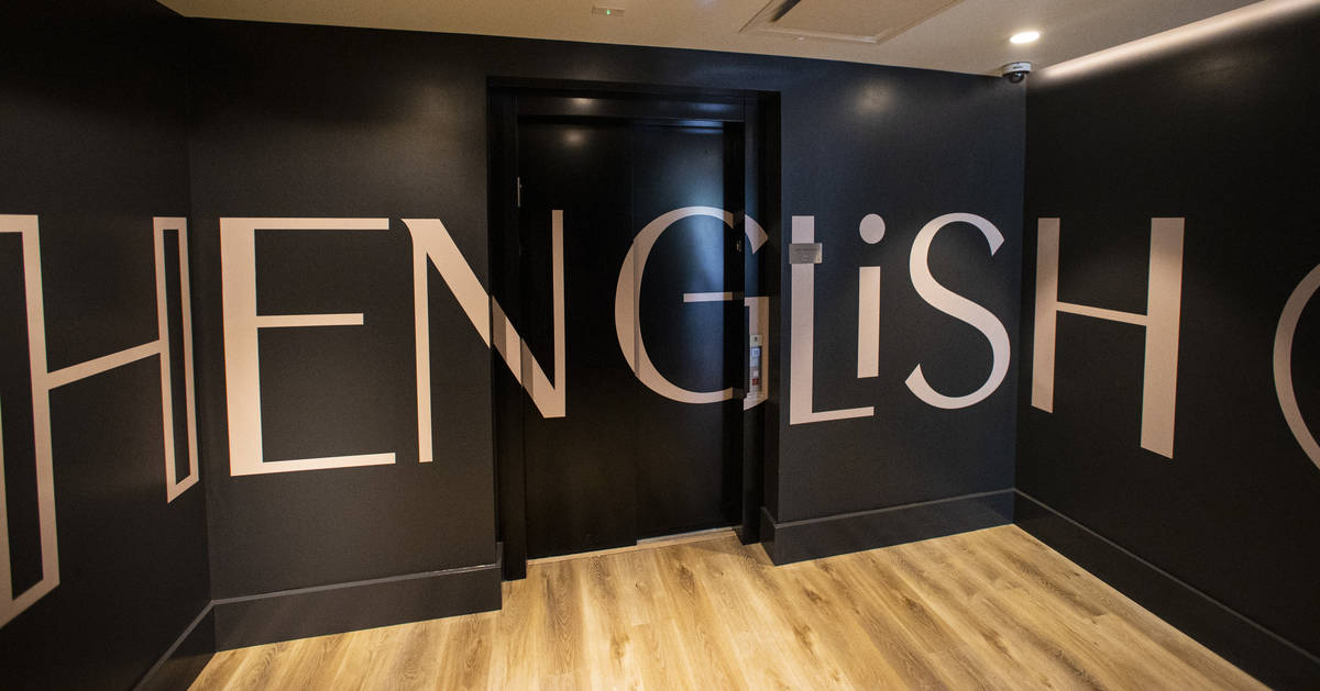 An elevator lobby at The English Hotel, which is under-construction in Las Vegas' Arts District ...