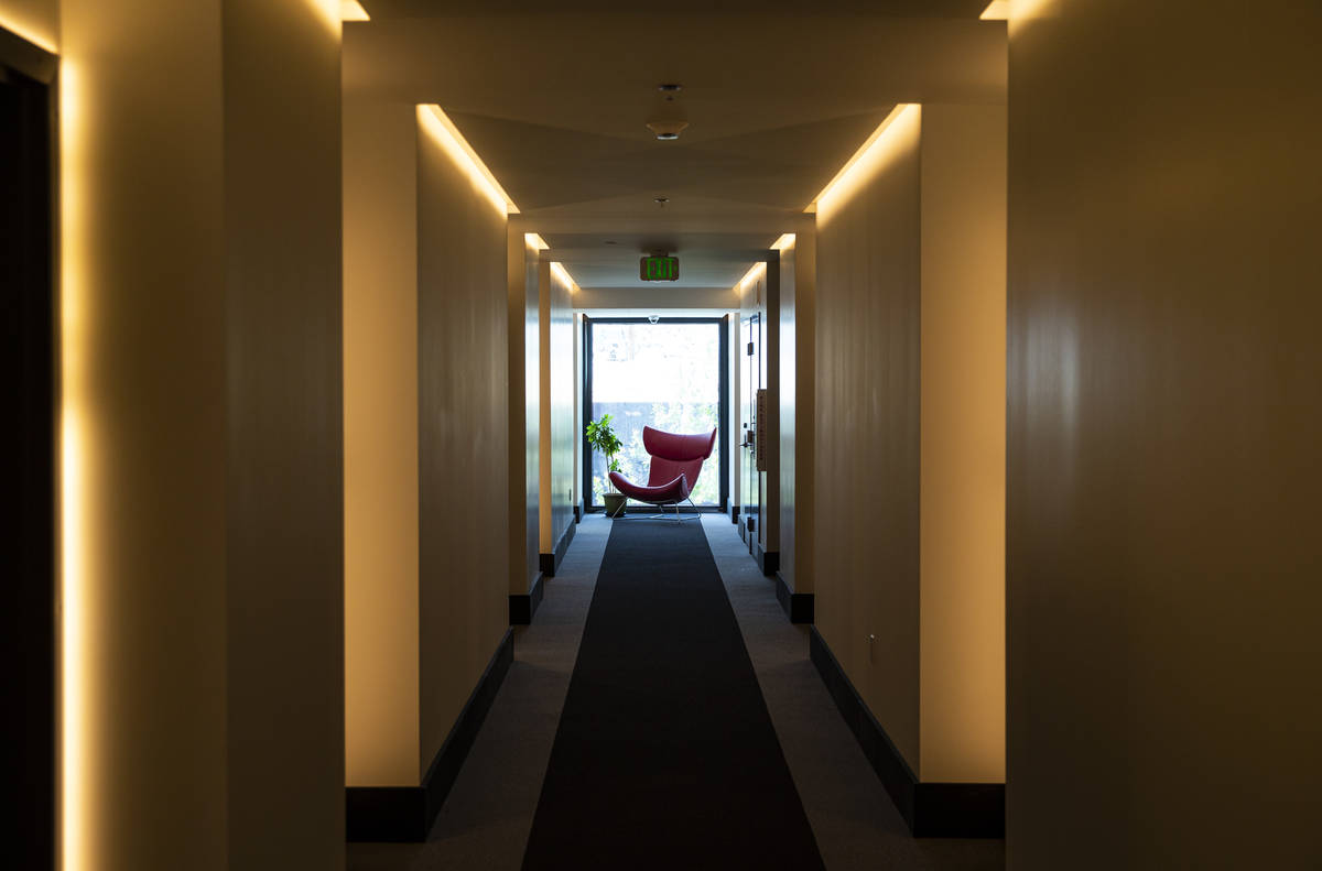 A hallway at The English Hotel, which is under-construction in Las Vegas' Arts District, on Thu ...