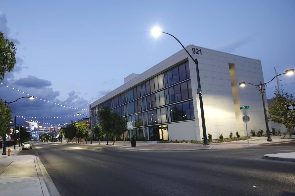 A new hotel under construction is seen fromMain Street in Las Vegas' Arts District, Tuesd ...
