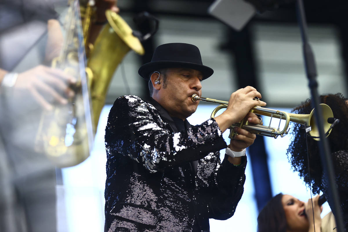 David Perrico leads his Pop Strings Orchestra at Allegiant Stadium in Las Vegas on Monday, June ...