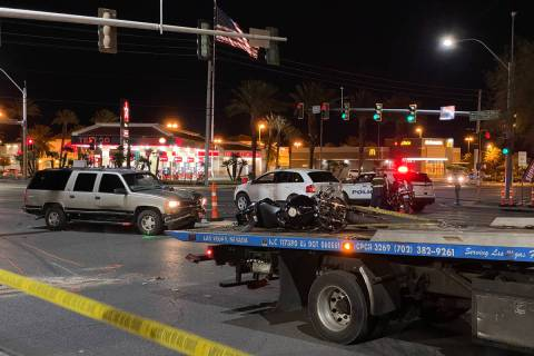 Police investigate a fatal crash involving a motorcycle at Craig Road and Martin Luther King Bo ...