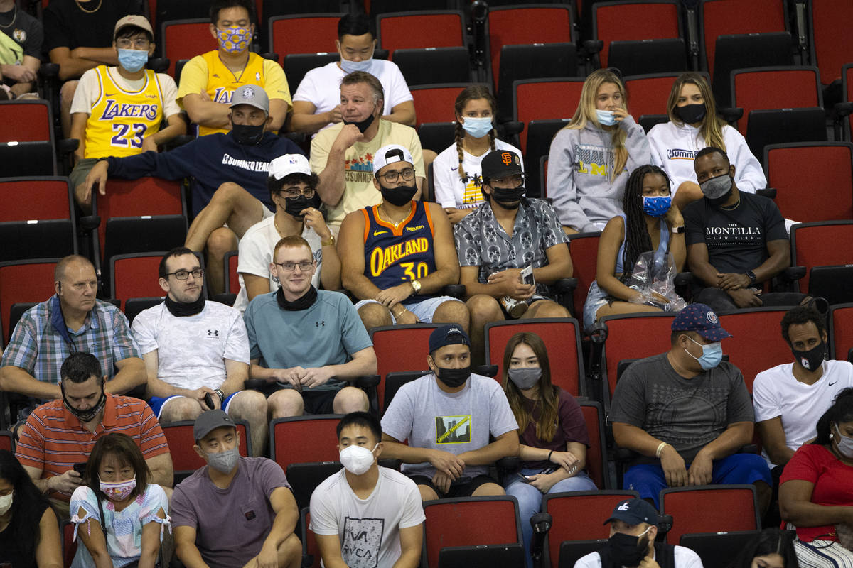 Some fans wear masks to prevent the spread of COVID-19 while others refrain during the second h ...