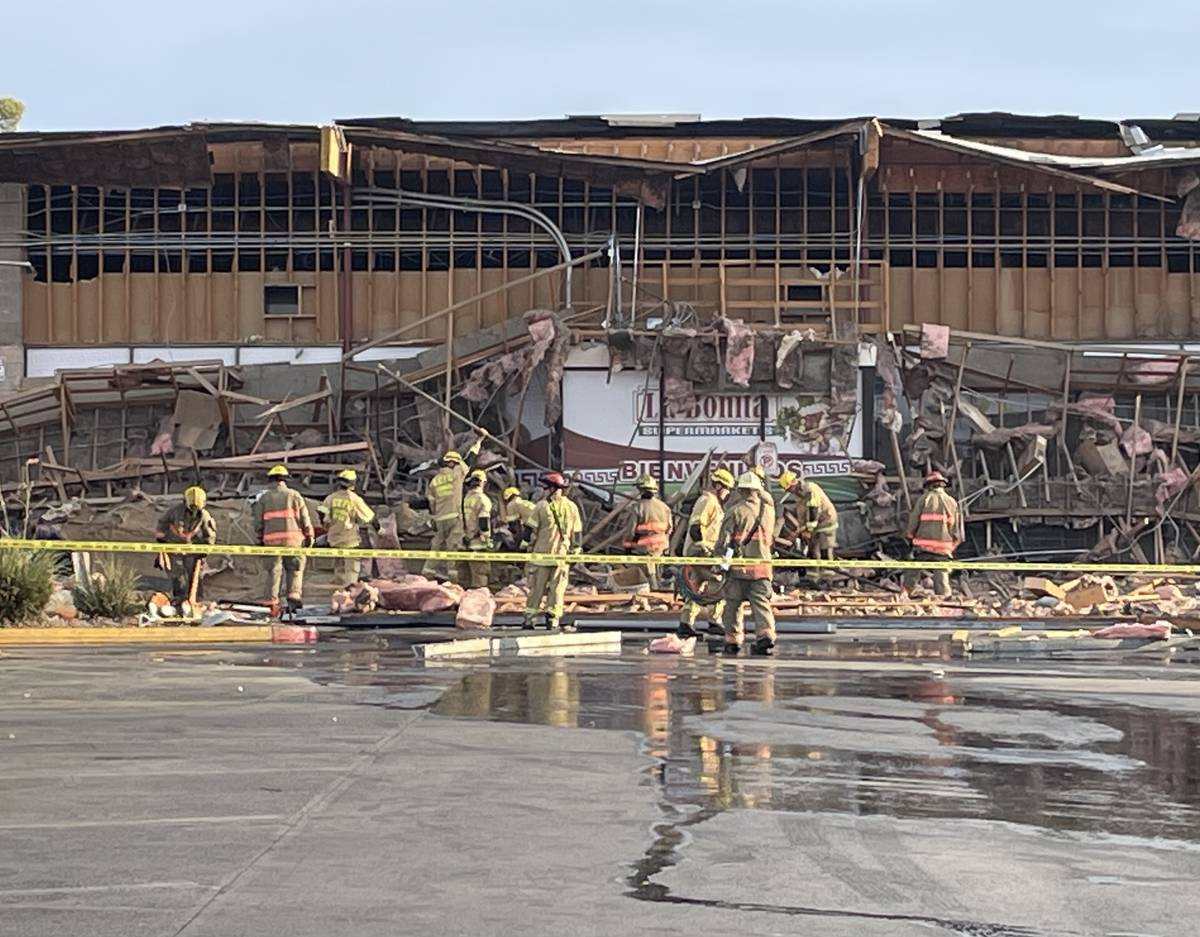 A portion of a large building collapsed at a shopping complex in eastern Las Vegas. ( Bizuayehu ...
