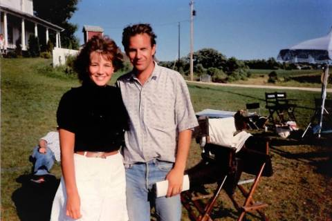 """Renee May, left, sister of RJ sports writer Ron Kantowski, is pictured with """"Field of Dreams"""" s ..."""