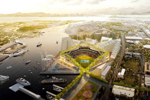 This rendering released Wednesday, Nov. 28, 2018, by the Oakland Athletics shows an elevated vi ...