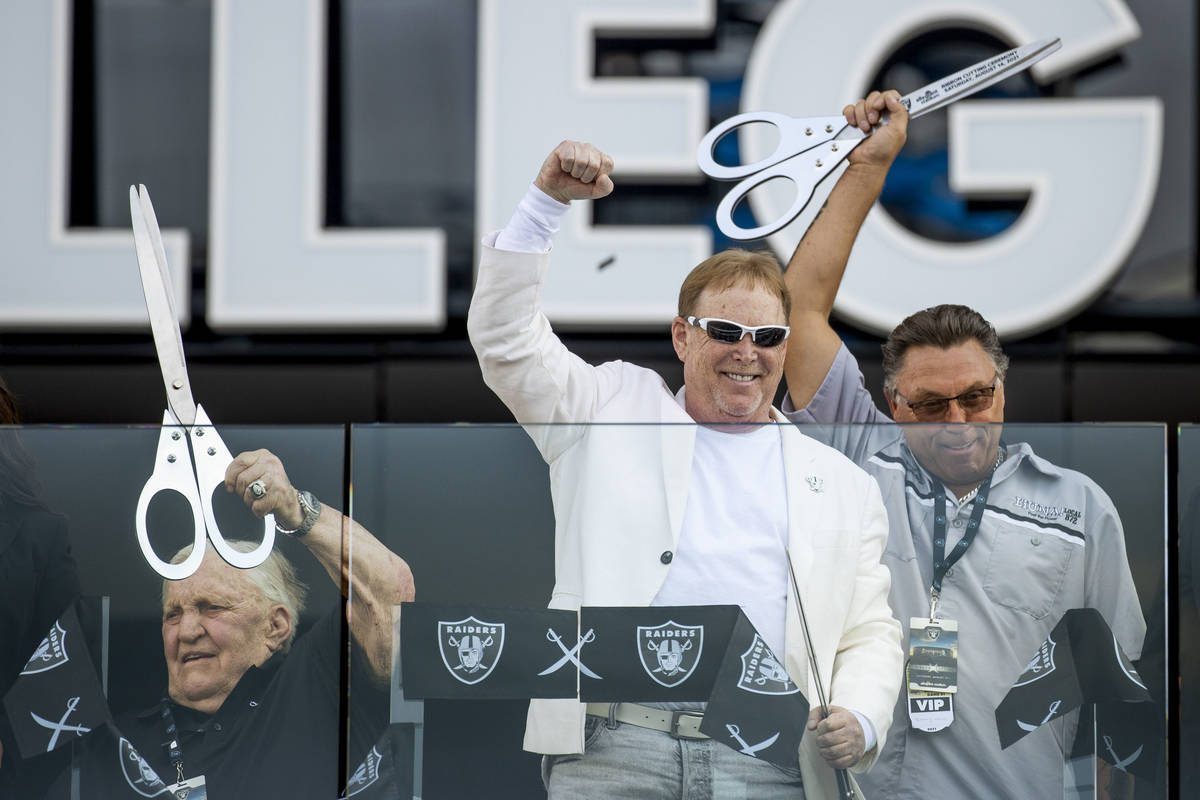 Former Raiders player Jim Otto, from left, Raiders owner Mark Davis and union leader Tommy Whit ...