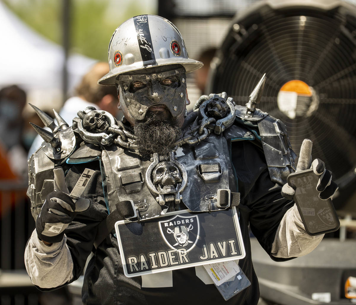 Raider Javi is one of the first fans to enter before the Raiders home opening pre-season NFL fo ...