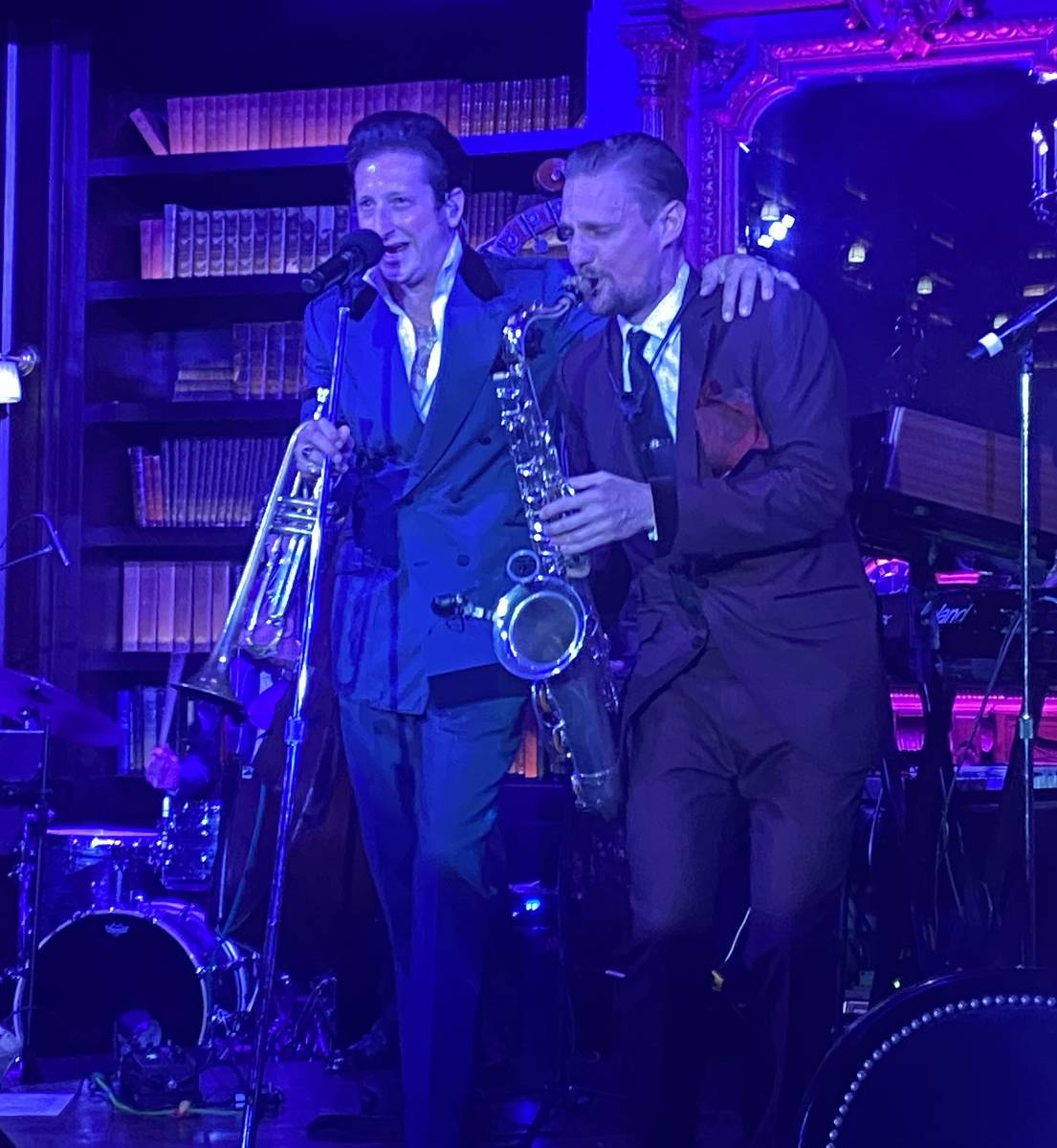 """Brian Newman and sax great Steve Kortyka perform in Newman's """"After Dark"""" show at NoMad Library ..."""
