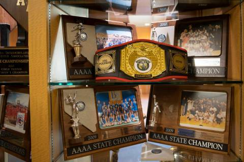 One of many trophy cases at Bishop Gorman High School on Monday, Aug. 9, 2021, in Las Vegas. (B ...