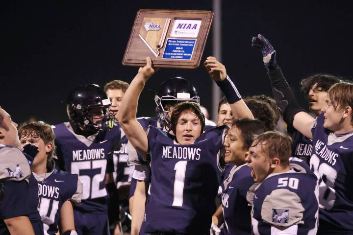 The Meadows players celebrate a win in the Class 2A Southern Region Championship against White ...