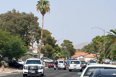 Henderson police investigate a fatal shooting on the 500 block of Chelsea Drive on Monday, Aug. ...