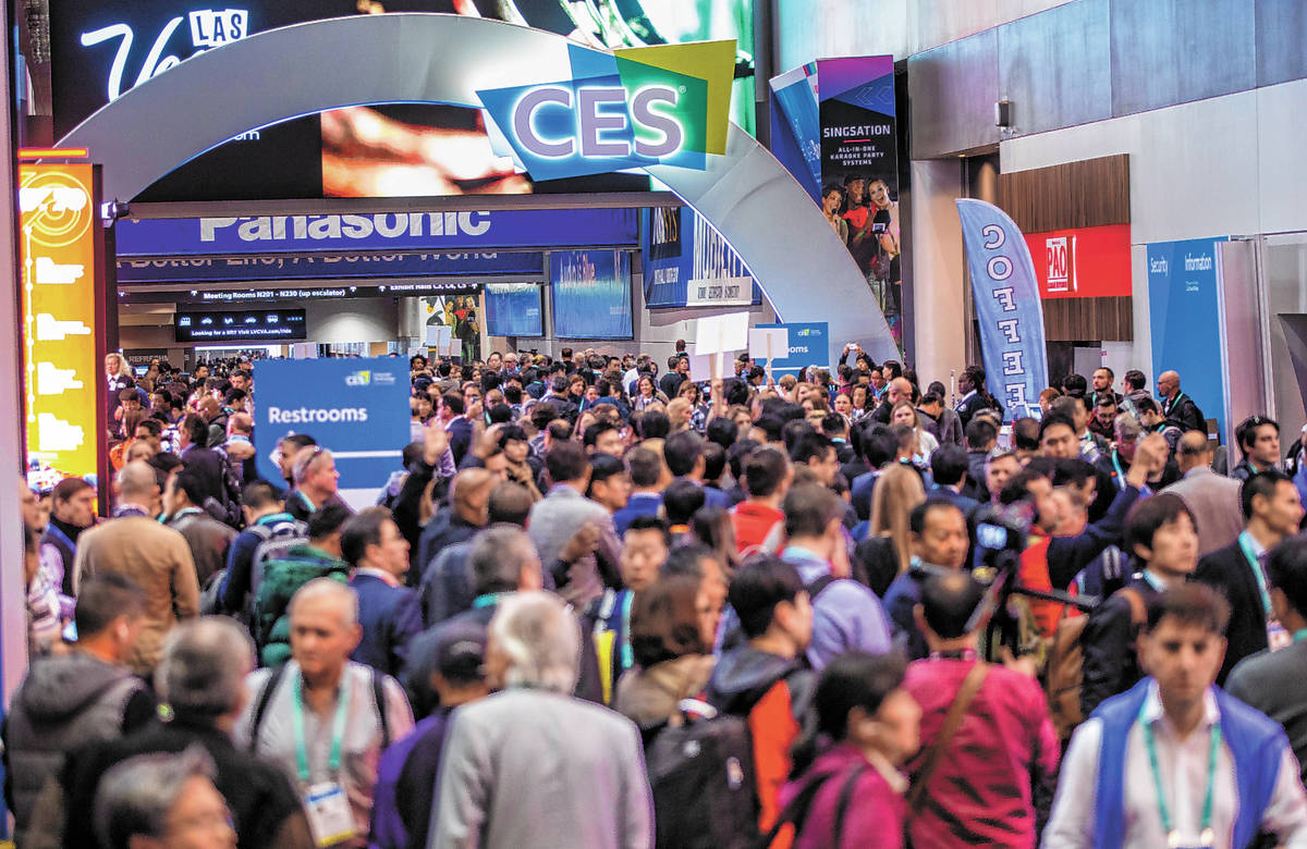 Visitors wait outside Central Hall on CES Day 1 at the Las Vegas Convention Center in January 2 ...